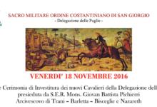 Barletta – Investitura nuovi cavalieri per l'ordine Costantiniano di San Giorgio