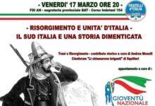"""Trani – Gioventù nazionale: incontro """"Risorgimento e Unità d'Italia"""""""