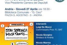 """Andria – Forza Italia BAT: presentazione libro on. Simone Baldelli """"Stai Sereno! Mica tanto"""""""