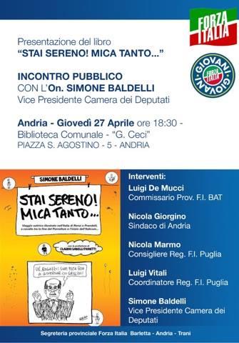 Andria forza italia bat presentazione libro on simone for Forza italia deputati