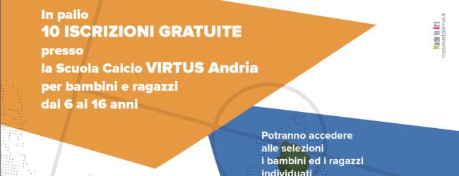 """Andria – """"UN GOL PER TUTTI"""": 10 gratuità per iscrizioni alla scuola-calcio Virtus Andria"""