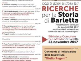 """""""Ricerche per la storia di Barletta"""" e intitolazione di una delle sale della biblioteca a Giulio Regeni"""