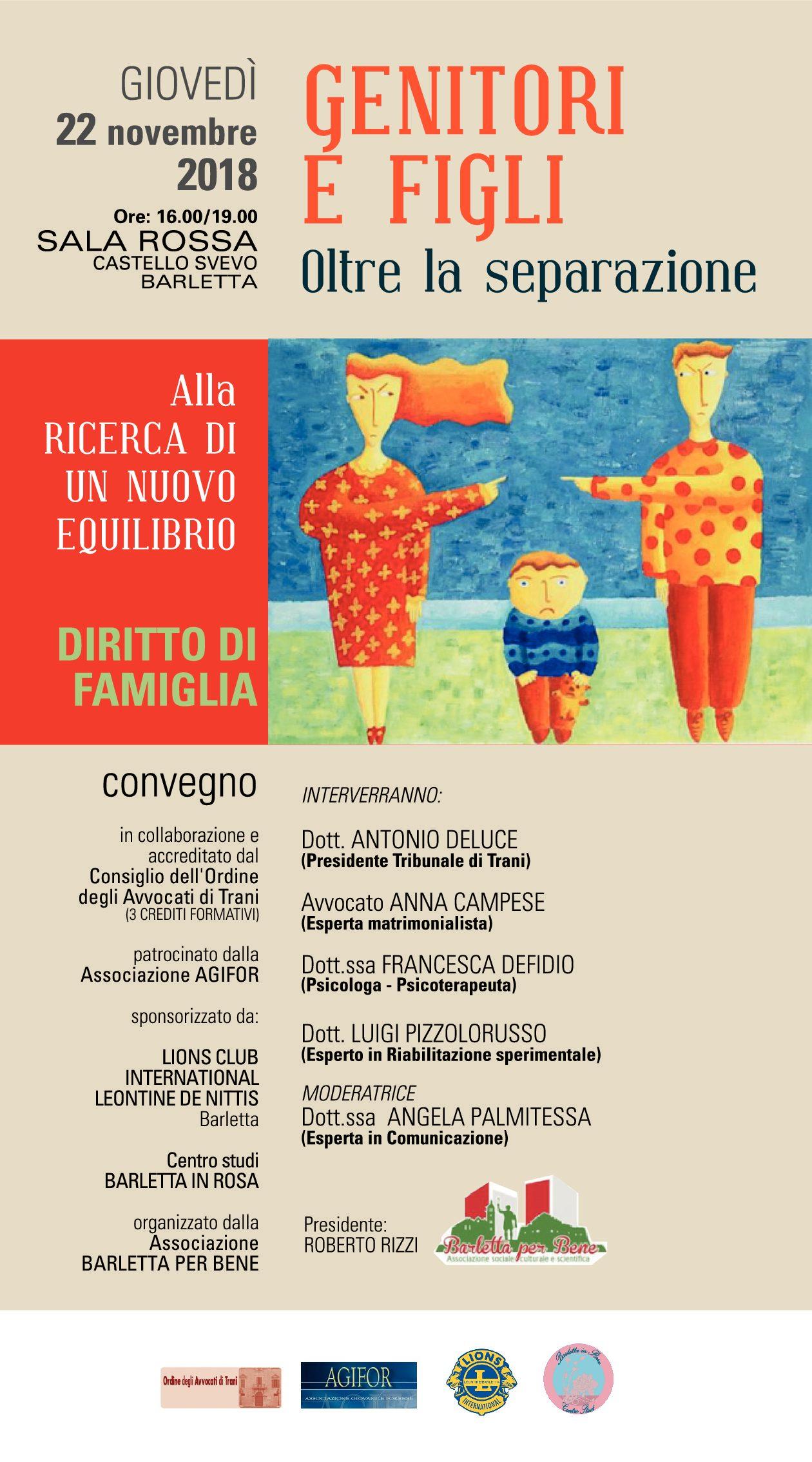 """Barletta – Convegno """"Genitori e figli.. Oltre la separazione"""""""