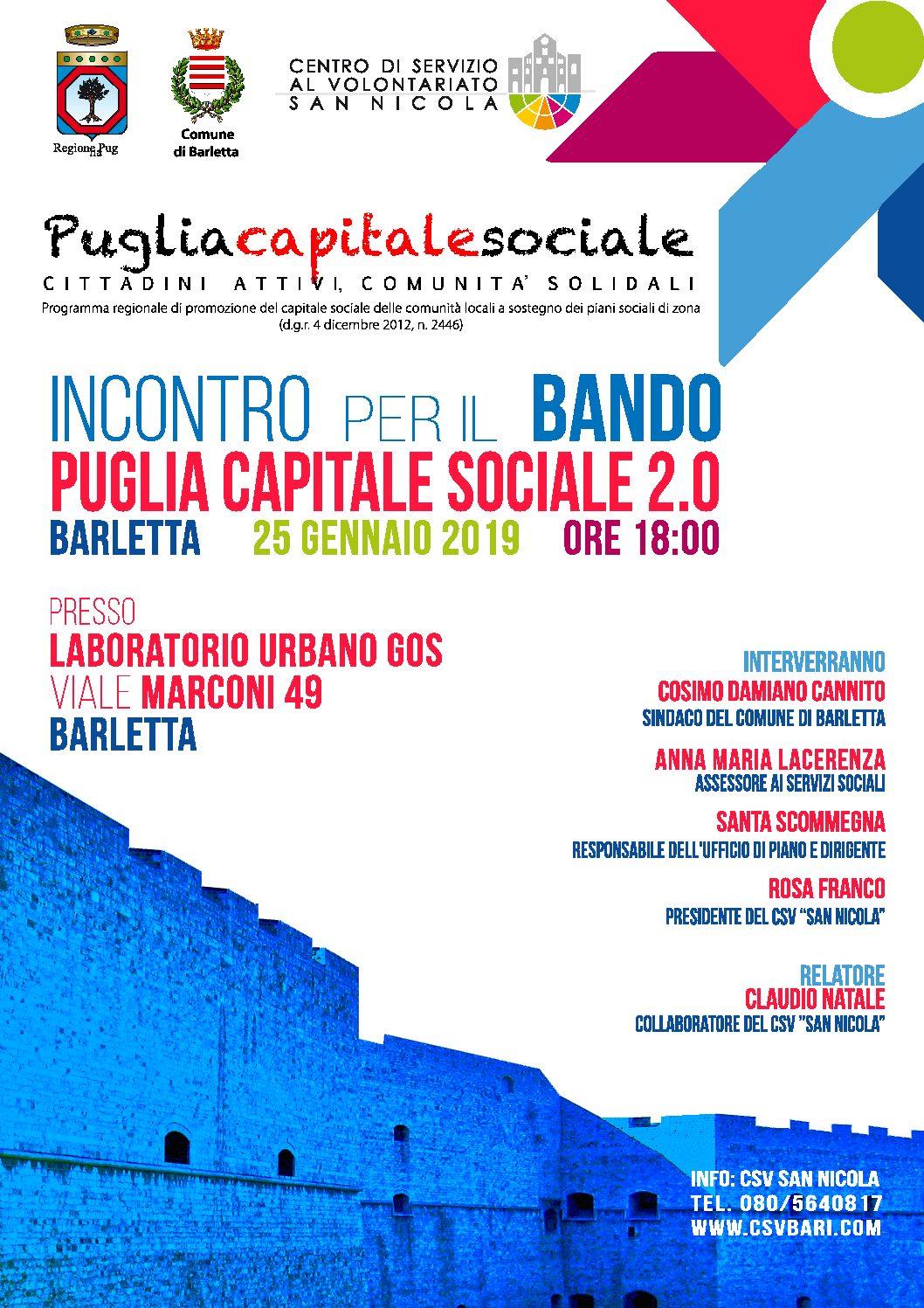 """Barletta – Bando regionale """"Puglia capitale sociale 2.0"""", un incontro al Gos"""