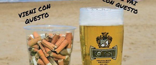 """""""Se raccogli, ti regalo"""": un bicchiere di birra gratis in cambio di uno di mozziconi di sigarette"""