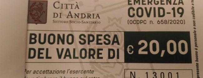 Andria – Buoni spesa, 2631 nuclei familiari beneficiari per un valore di oltre 1 milione di euro
